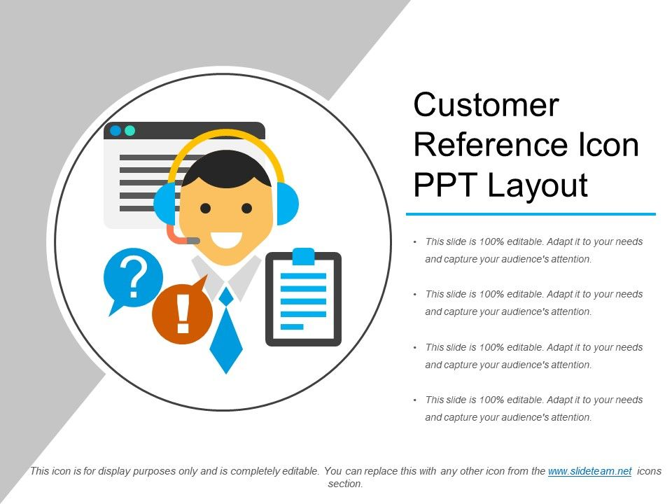 Customer Reference Icon Ppt Layout PowerPoint Presentation Slides