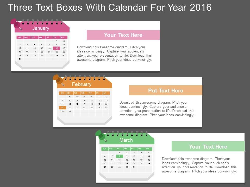 da Three Text Boxes With Calendar For Year 2016 Flat Powerpoint - sample power point calendar