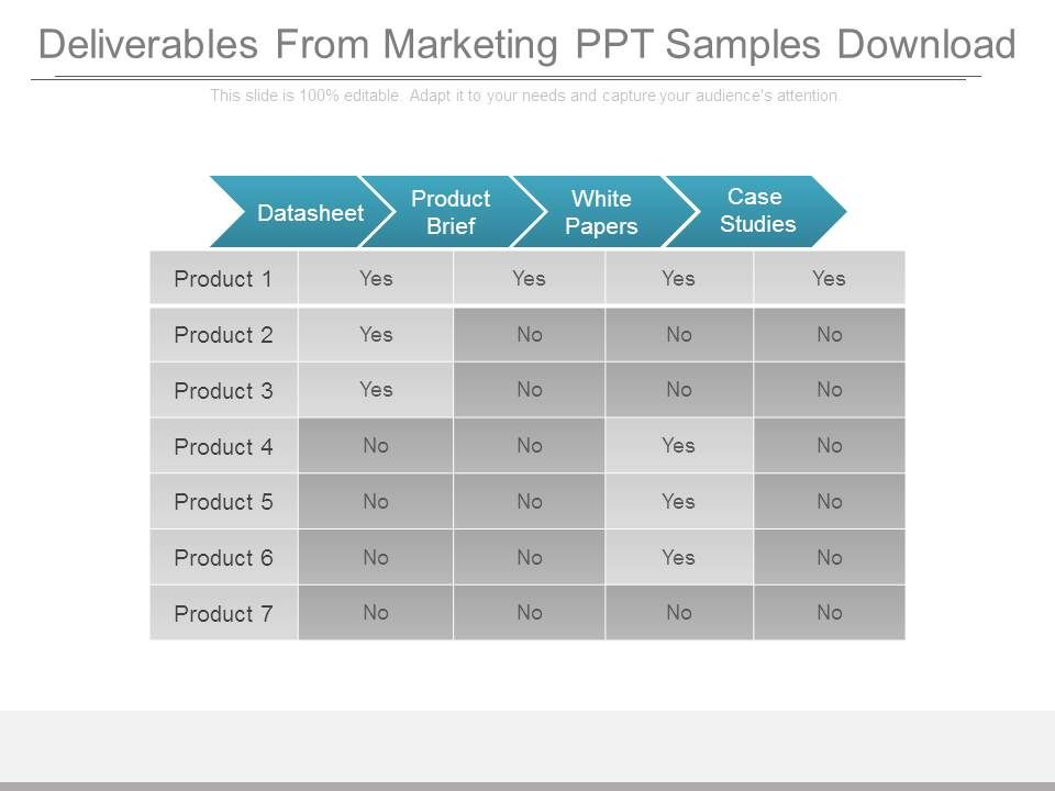 Deliverables From Marketing Ppt Samples Download PowerPoint Slide