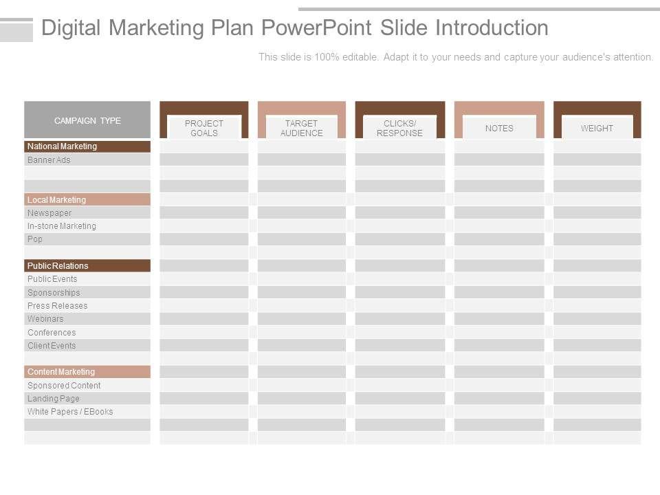 Digital Marketing Plan Powerpoint Slide Introduction PowerPoint - digital marketing plan