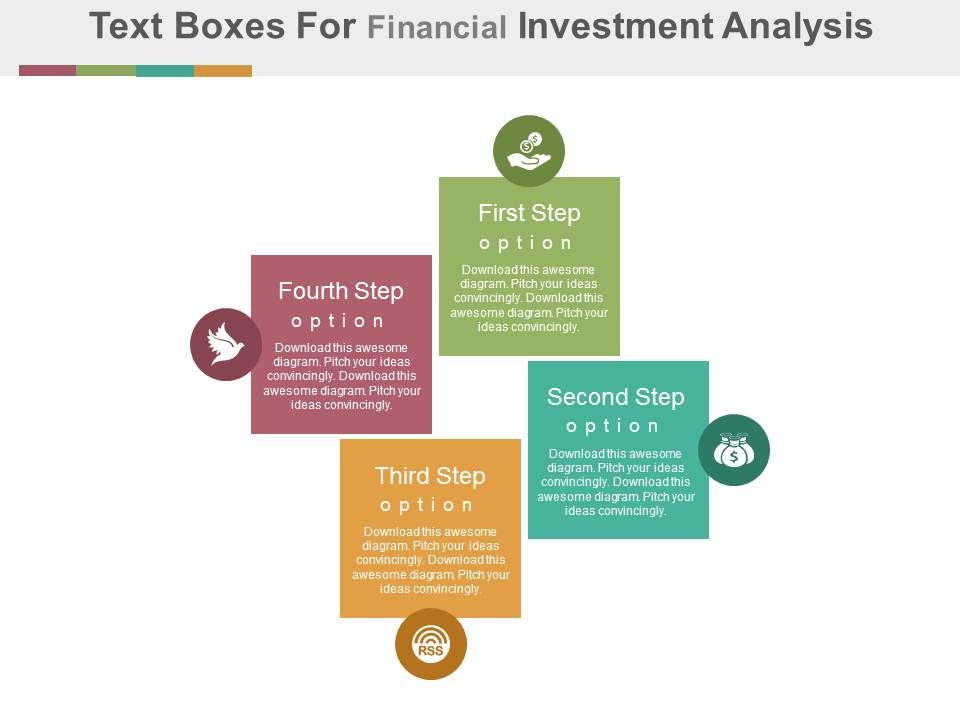 dm Four Text Boxes For Financial Investment Analysis Flat Powerpoint - investment analysis sample
