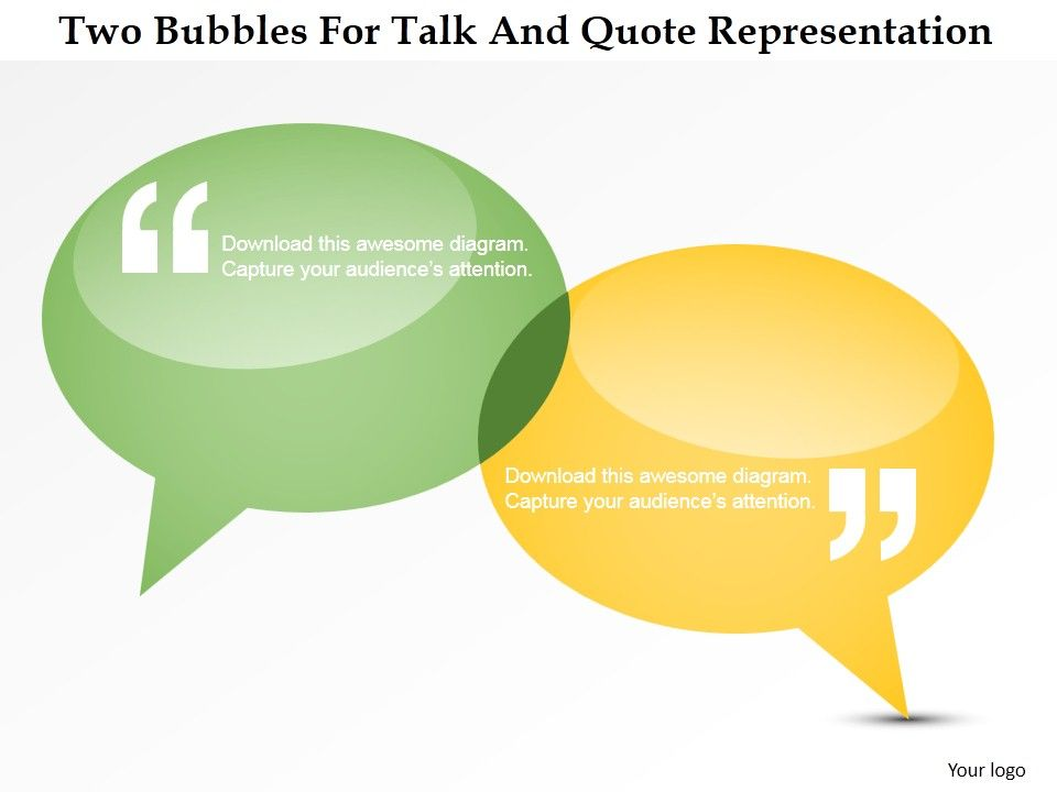 Dq Two Bubbles For Talk And Quote Representation Powerpoint Template - bubbles power point