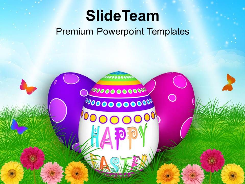 Easter Bunny Eggs In Garden With Butterflies Powerpoint Templates