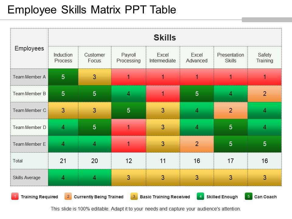 Employee Skills Matrix Ppt Table PowerPoint Templates Download