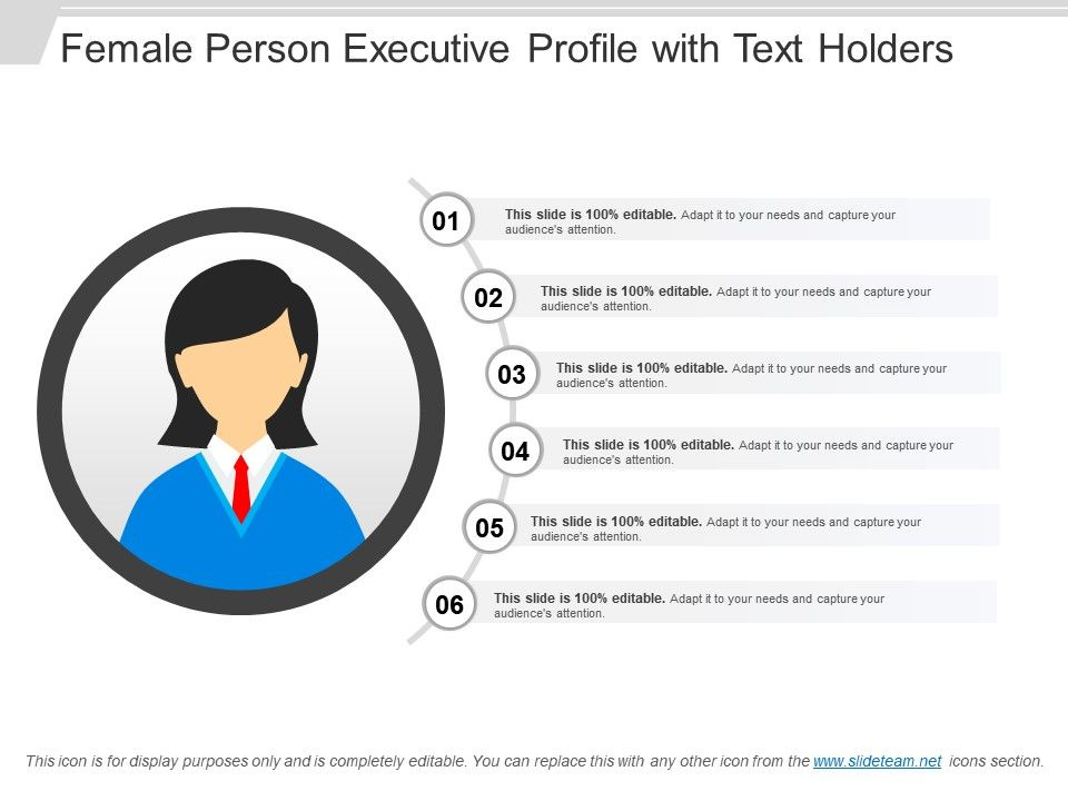 Female Person Executive Profile With Text Holders PowerPoint - executive profile template