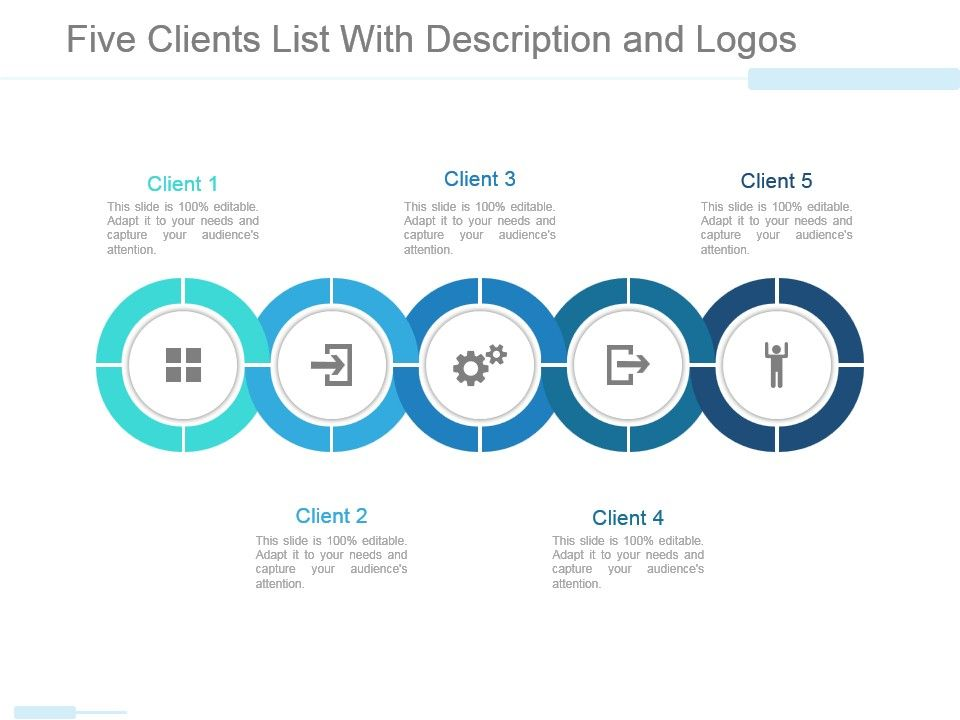 Five Clients List With Description And Logos Powerpoint Slide
