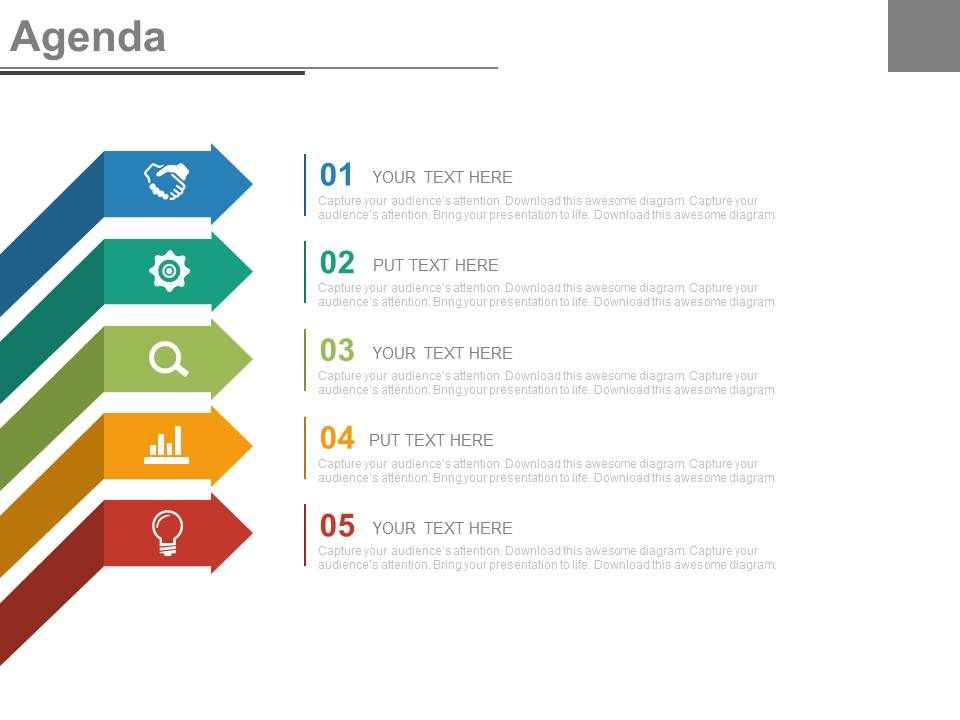 Five Staged Arrows And Icons For Business Agenda Powerpoint Slides