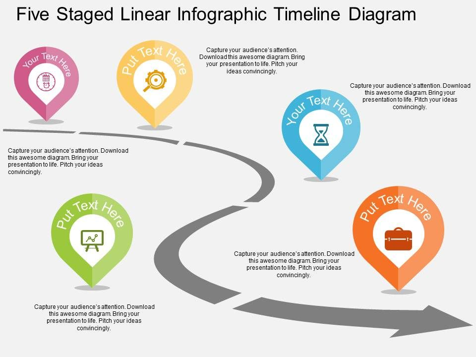 Five Staged Linear Infographic Timeline Diagram Flat Powerpoint - powerpoint timeline