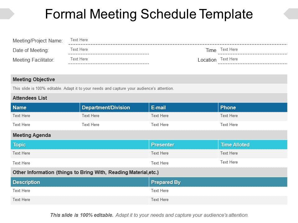 Formal Meeting Schedule Template Powerpoint Ideas Templates - meeting schedule template