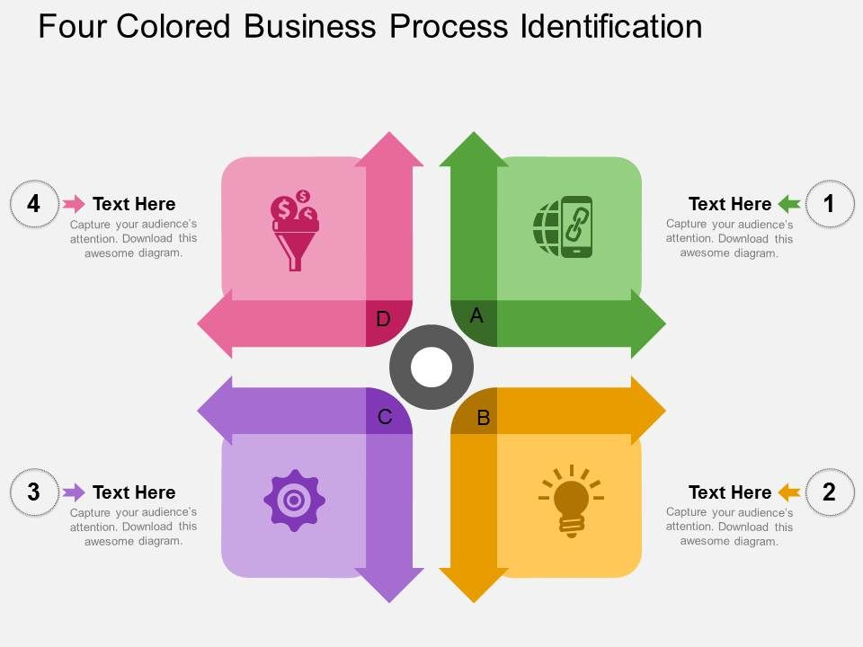 Four Colored Business Process Identification Flat Powerpoint Design