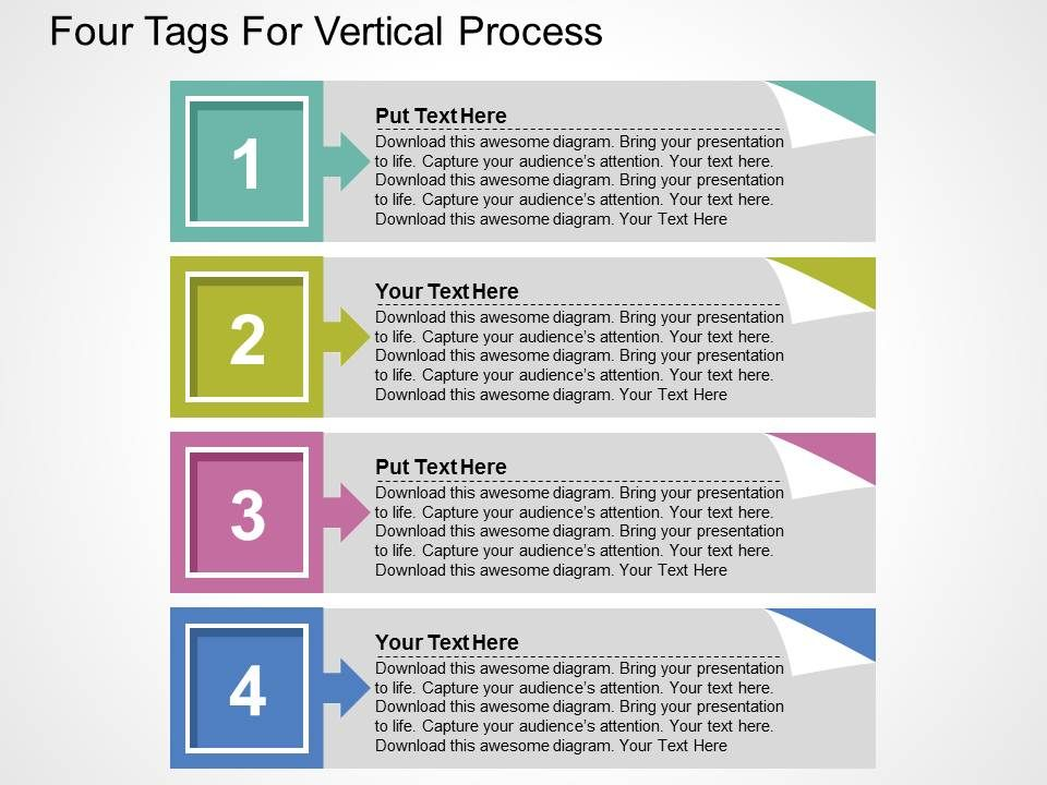 Four Tags For Vertical Process Flat Powerpoint Design PowerPoint - vertical designs