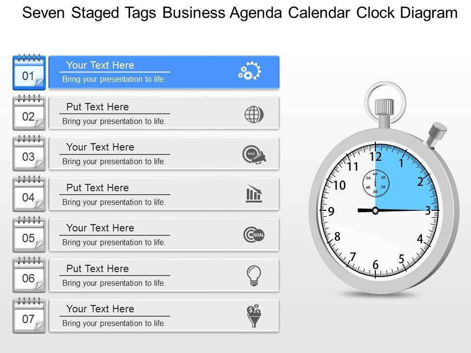 gm Seven Staged Tags Business Agenda Calendar Clock Diagram - sample power point calendar