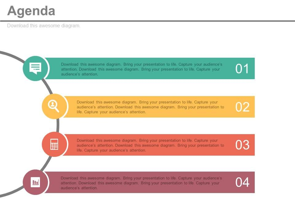 Half Circle Four Tags For Business Agenda Powerpoint Slides