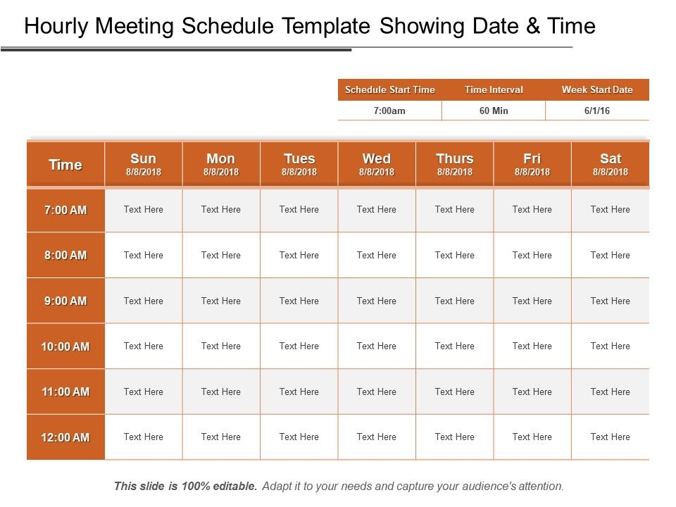 Hourly Meeting Schedule Template Showing Date And Time Ppt Design
