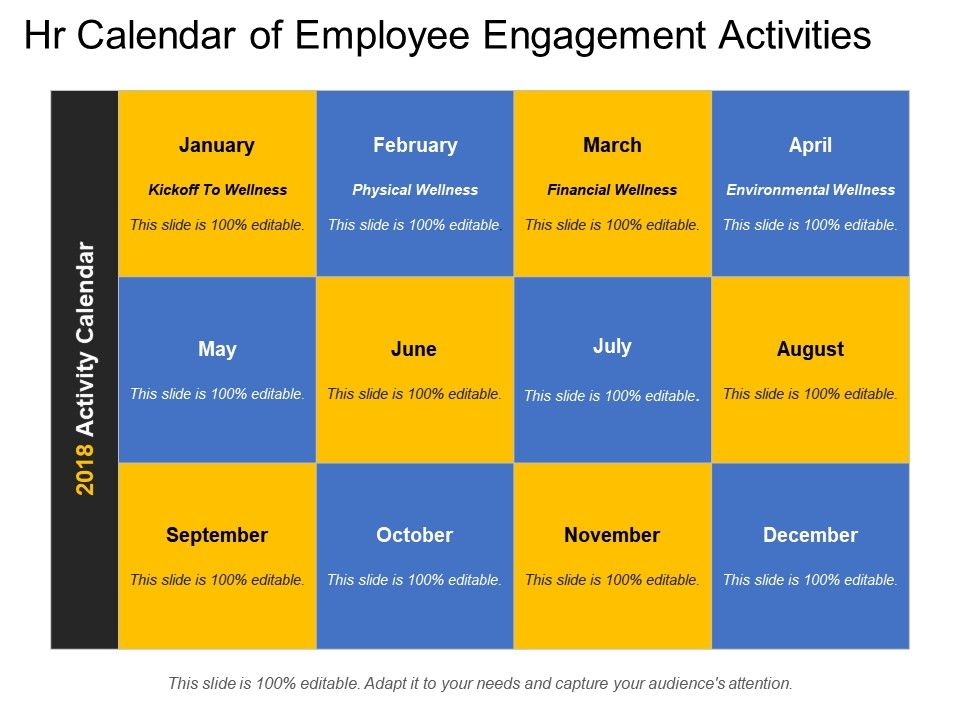 Hr Calendar Of Employee Engagement Activities PowerPoint Slide