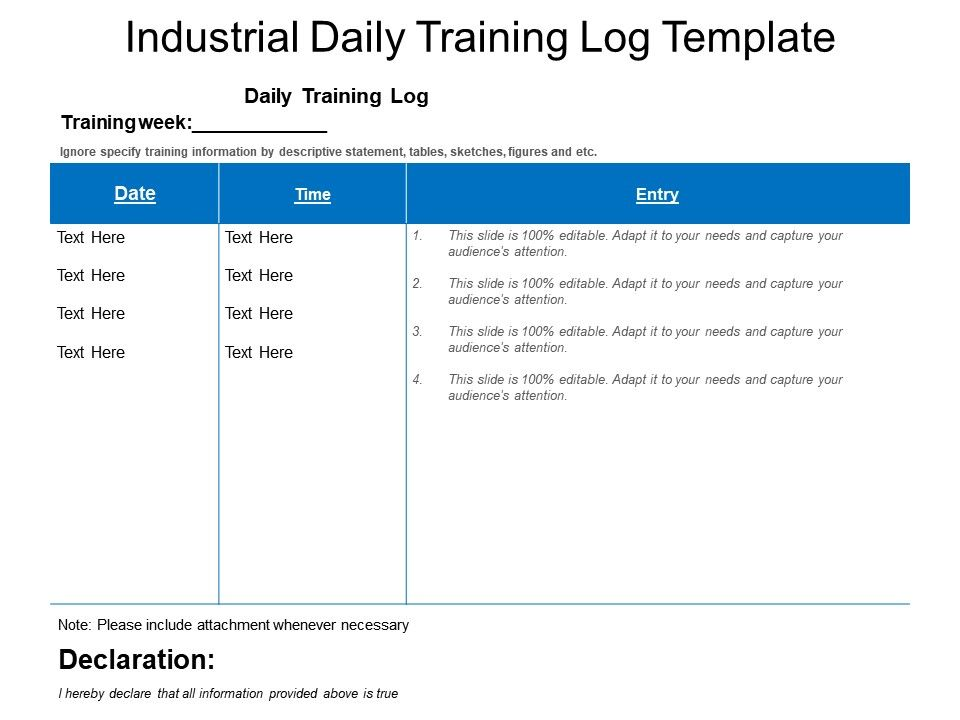 Industrial Daily Training Log Template PowerPoint Slide Clipart - training log template