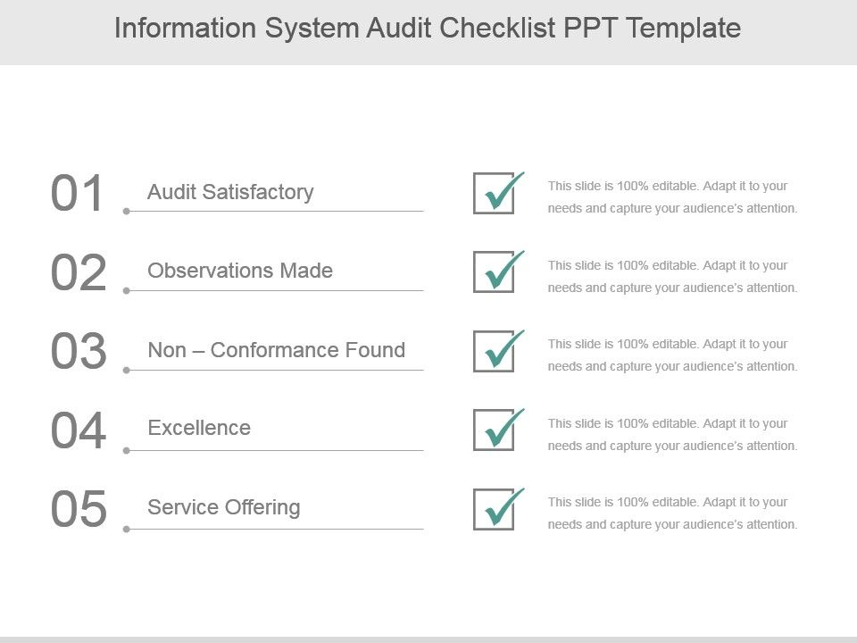 Information System Audit Checklist Ppt Template Presentation - audit form templates