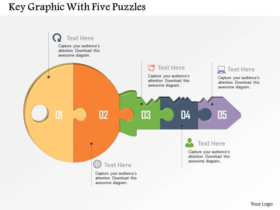 Key Graphic With Five Puzzles Powerpoint Template Graphics - puzzle powerpoint template