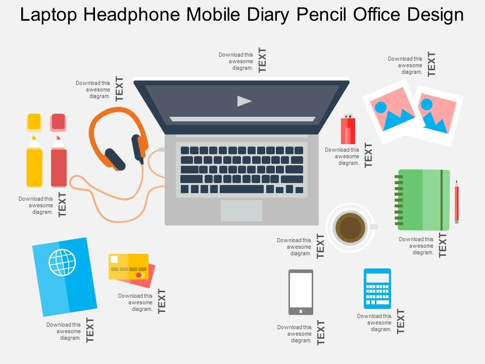 Laptop Headphone Mobile Diary Pencil Office Design Flat Powerpoint - office powerpoint template