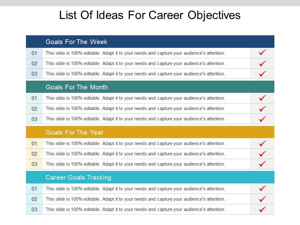 List Of Ideas For Career Objectives Ppt Ideas PPT Images Gallery - list of career goals