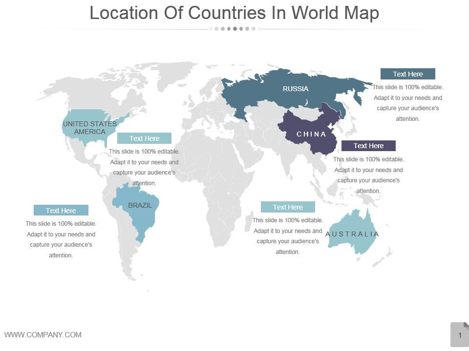 Location Of Countries In World Map Powerpoint Slides PPT Images