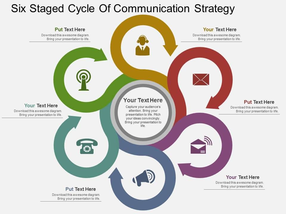Lw Six Staged Cycle Of Communication Strategy Flat Powerpoint Design