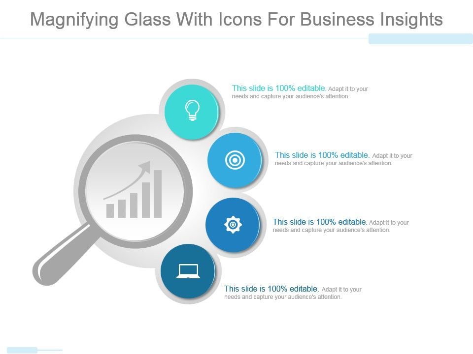 Magnifying Glass With Icons For Business Insights Powerpoint Slides - power point slide designs