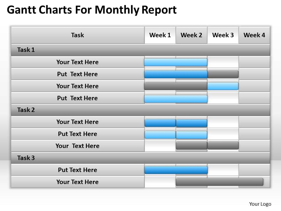 Management Consulting Charts For Monthly Report Powerpoint Templates - monthly report templates