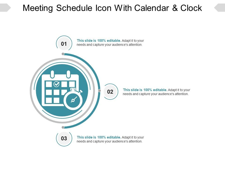 Meeting Schedule Icon With Calendar And Clock Ppt Example - sample power point calendar