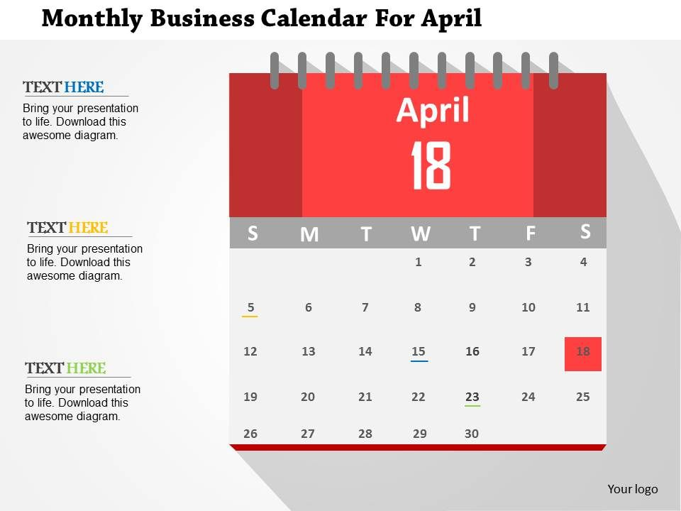 Monthly Business Calendar For April Flat Powerpoint Design - sample power point calendar