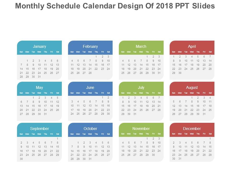 monthly schedule calendar design of 2018 ppt slides PowerPoint - sample power point calendar