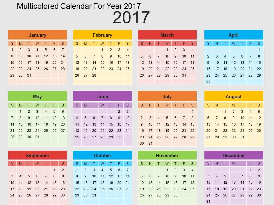 Multicolored Calendar For Year 2017 Flat Powerpoint Design - sample power point calendar