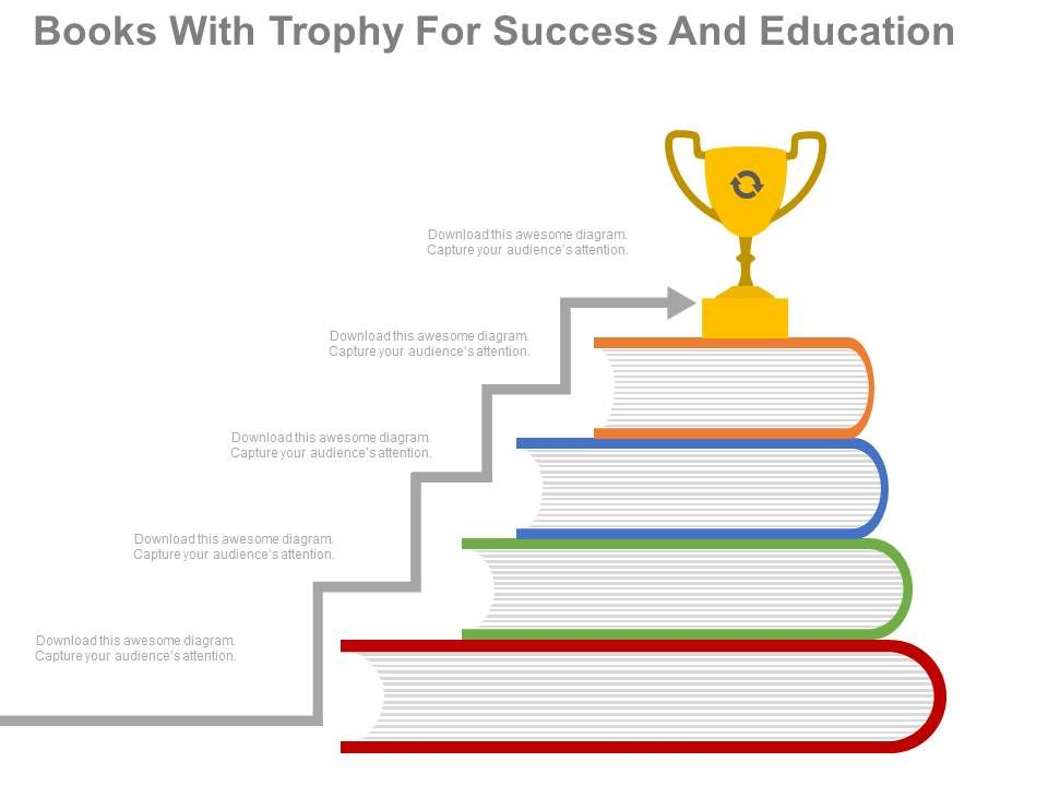 new Books With Trophy For Success And Education Flat Powerpoint - powerpoint books