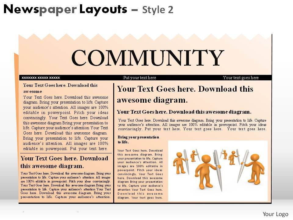Newspaper Layouts Style 2 Powerpoint Presentation Slides - newspaper powerpoint template