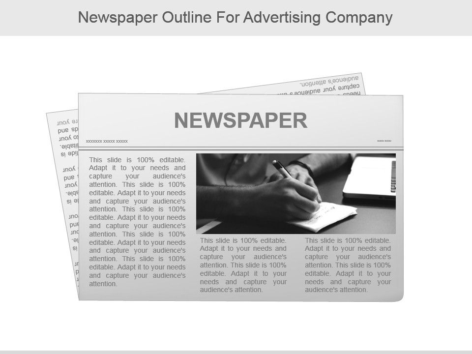 Newspaper Outline For Advertising Company Presentation PowerPoint - newspaper powerpoint template