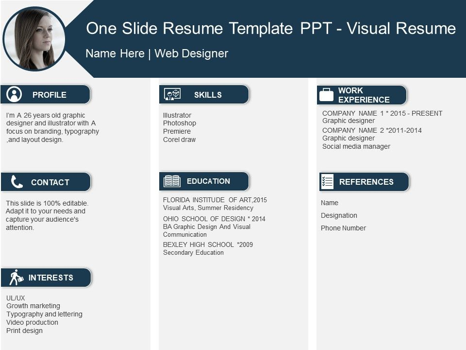 One Slide Resume Template Ppt Visual Resume PowerPoint Templates