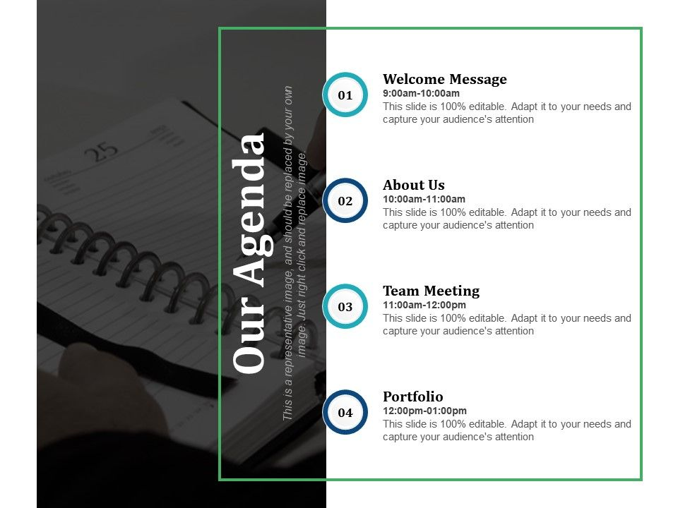 Our Agenda Welcome Message About Us Team Meeting Portfolio