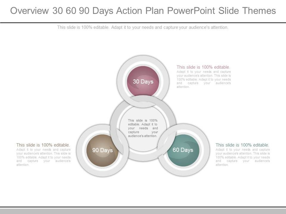 Overview 30 60 90 Days Action Plan Powerpoint Slide Themes - plan of action template
