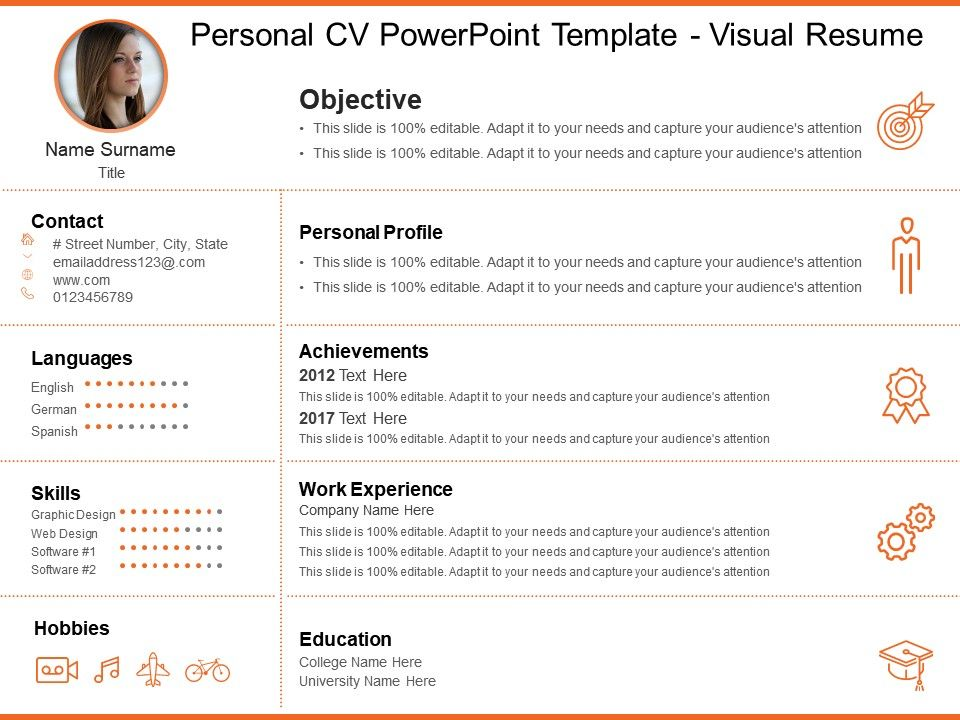 Personal Cv Powerpoint Template Visual Resume PowerPoint Templates - what is cv resume