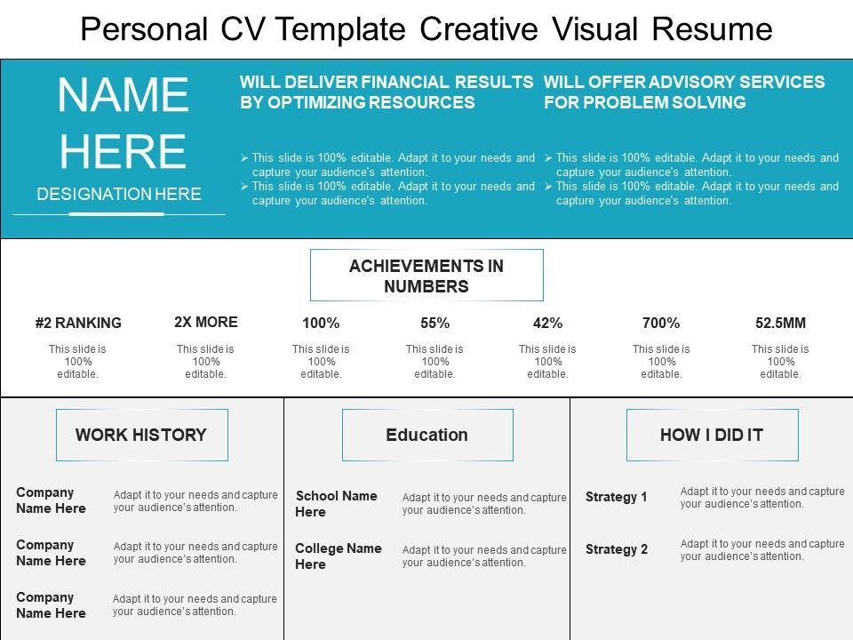 Personal Cv Template Creative Visual Resume Presentation Graphics