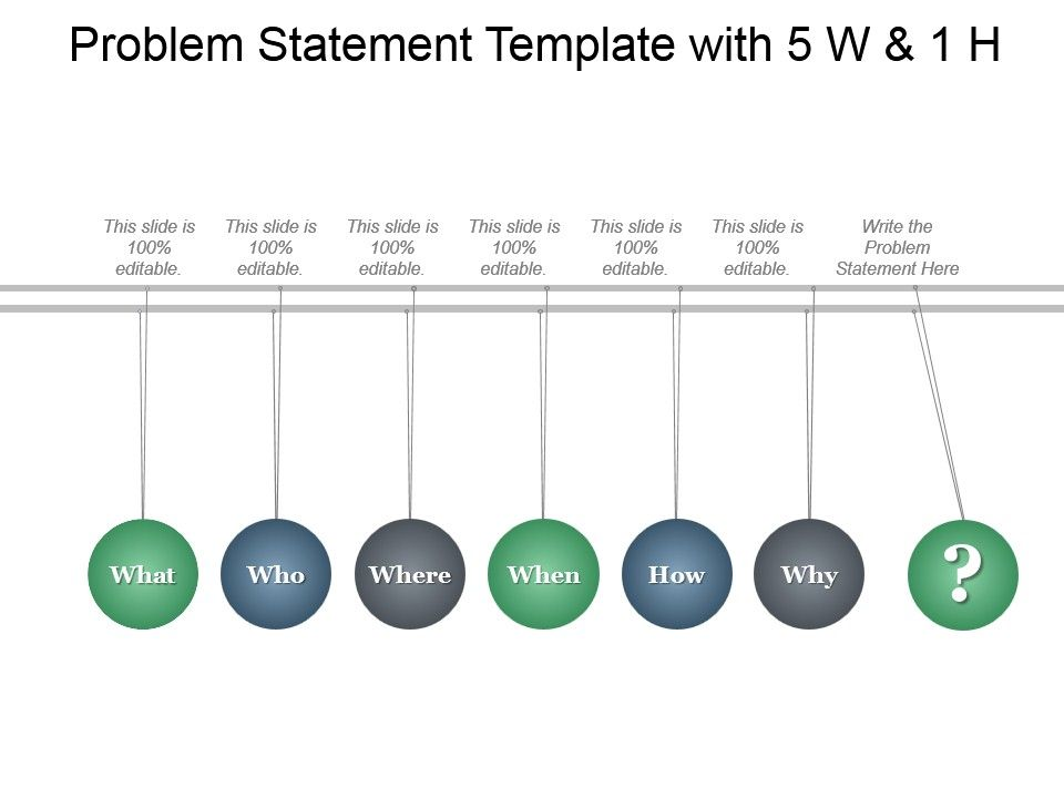 Problem Statement Template With 5 W And 1 H Ppt Infographics