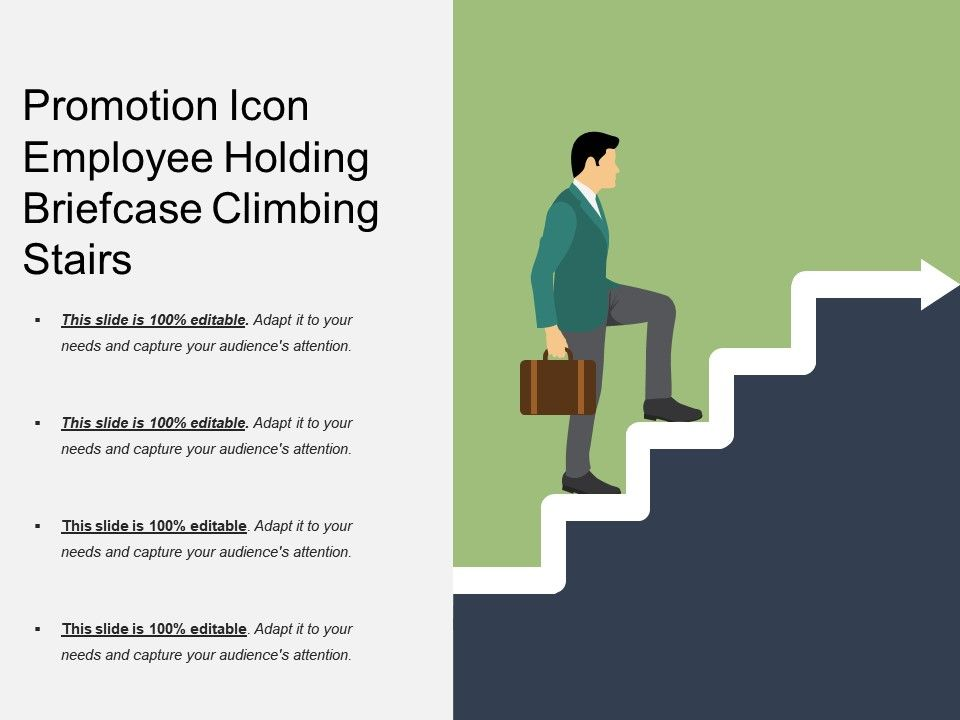 Promotion Icon Employee Holding Briefcase Climbing Stairs - Employee Presentations