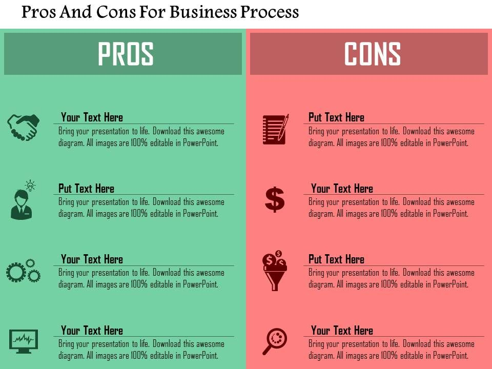 Pros And Cons For Business Process Flat Powerpoint Design