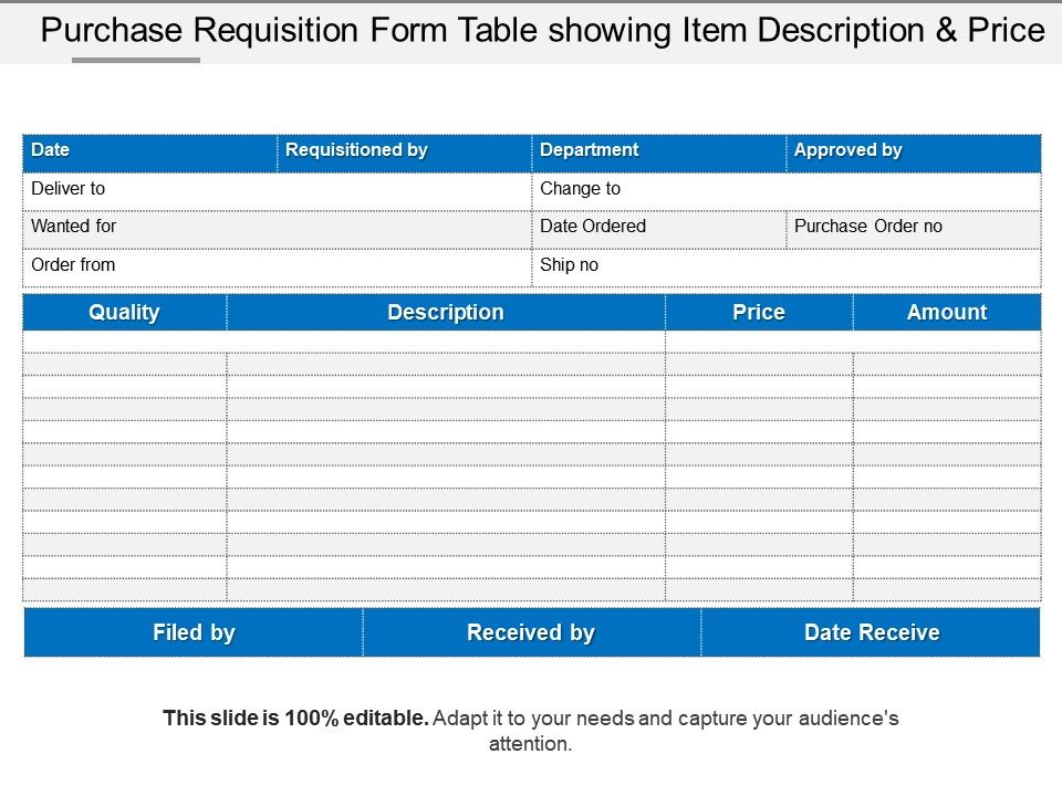 Purchase Requisition Form Table Showing Item Description And Price