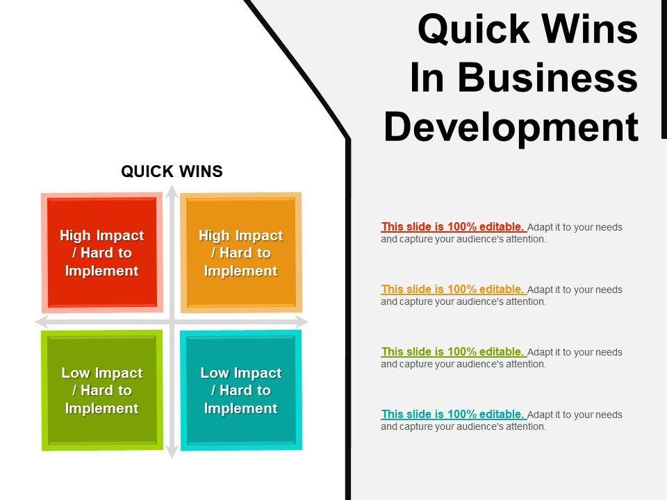 Quick Wins In Business Development Powerpoint Slides Design