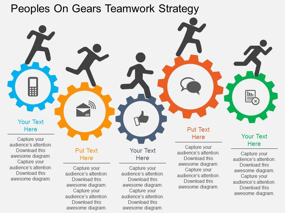 Rm Peoples On Gears Teamwork Strategy Flat Powerpoint Design - an example of teamwork