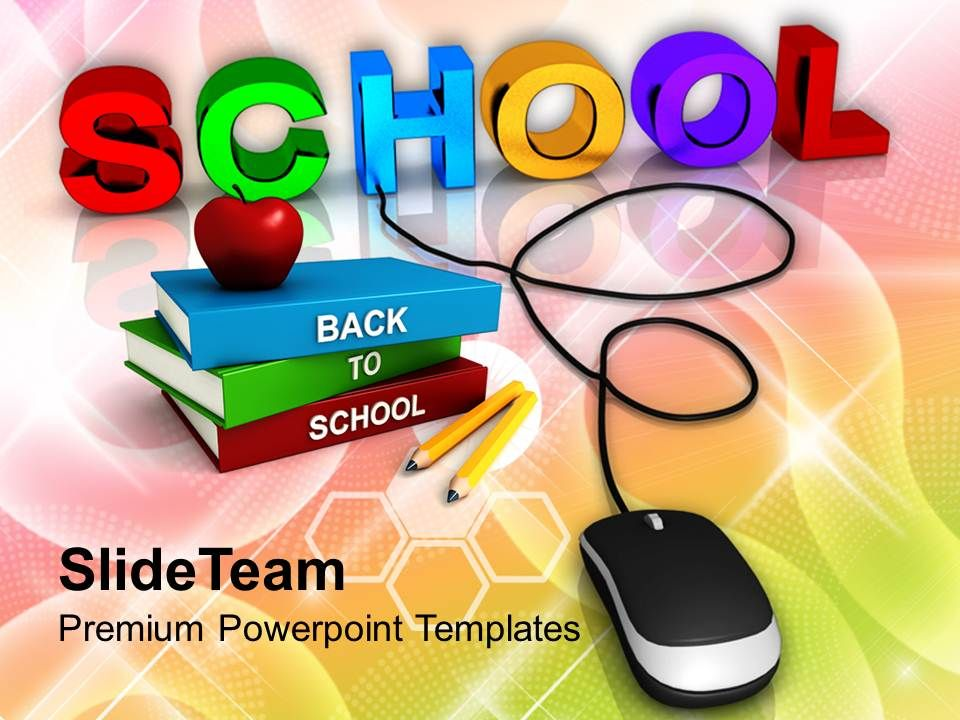School With Computer Mouse Education Concept Powerpoint Templates