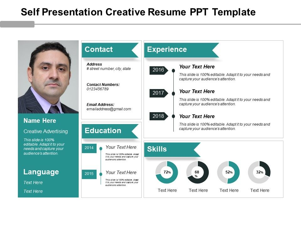 Self Presentation Creative Resume Ppt Template Presentation - resume presentation