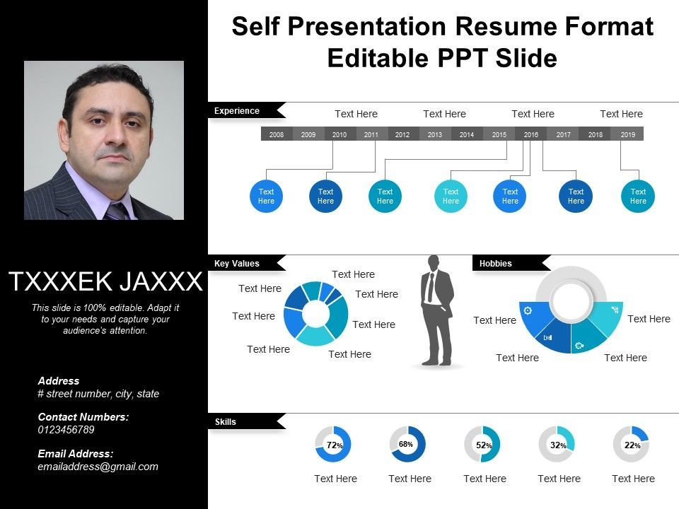 Self Presentation Resume Format Editable Ppt Slide PowerPoint