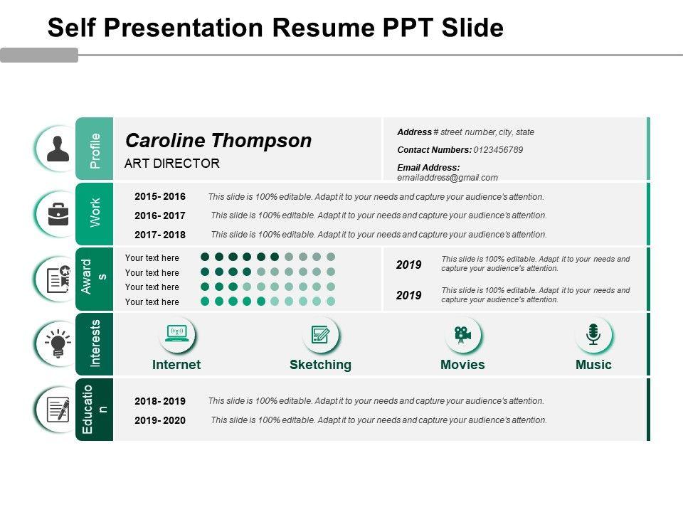 Self Presentation Resume Ppt Slide PowerPoint Presentation